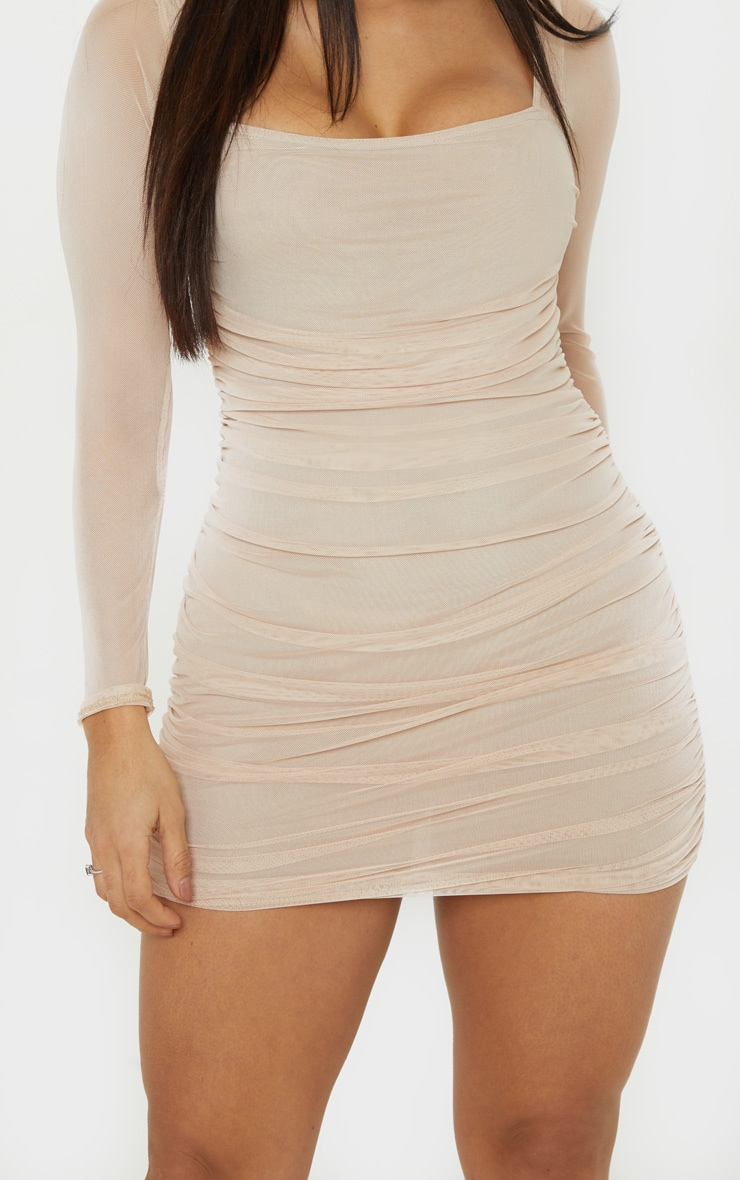 Stone Mesh Square Neck Ruched Bodycon Dress 5