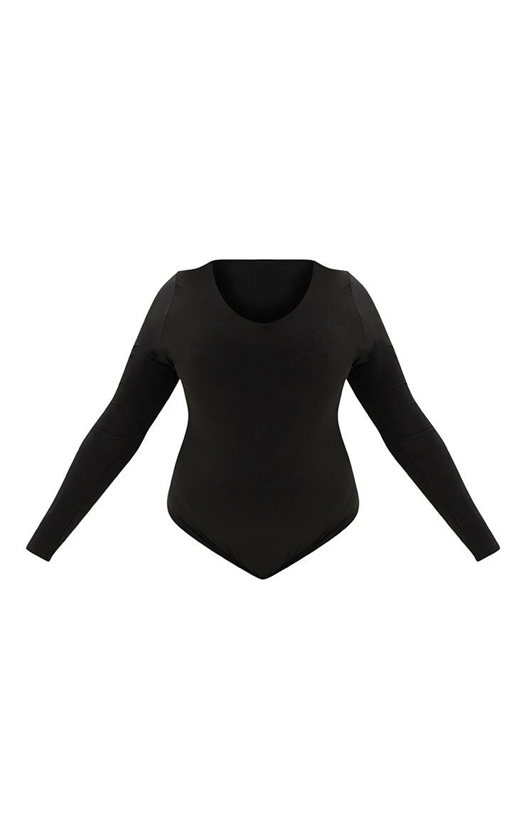 Plus Black Slinky Long Sleeve Bodysuit 3