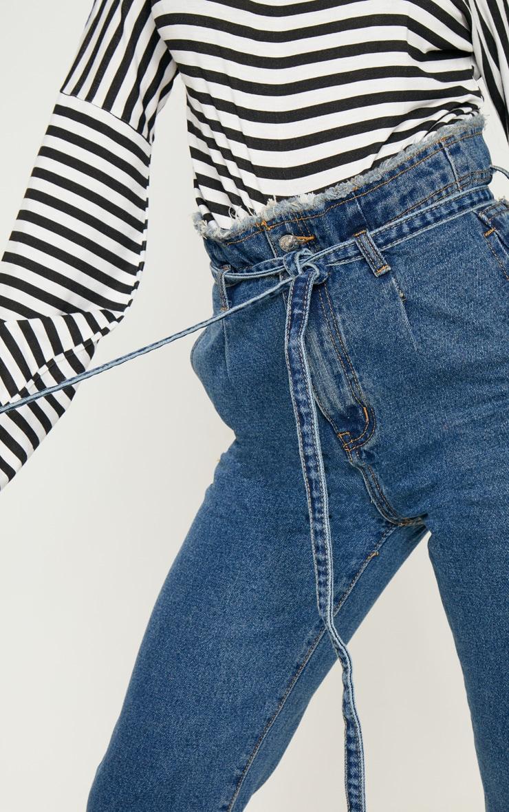 Dark Wash Paperbag Jeans  5