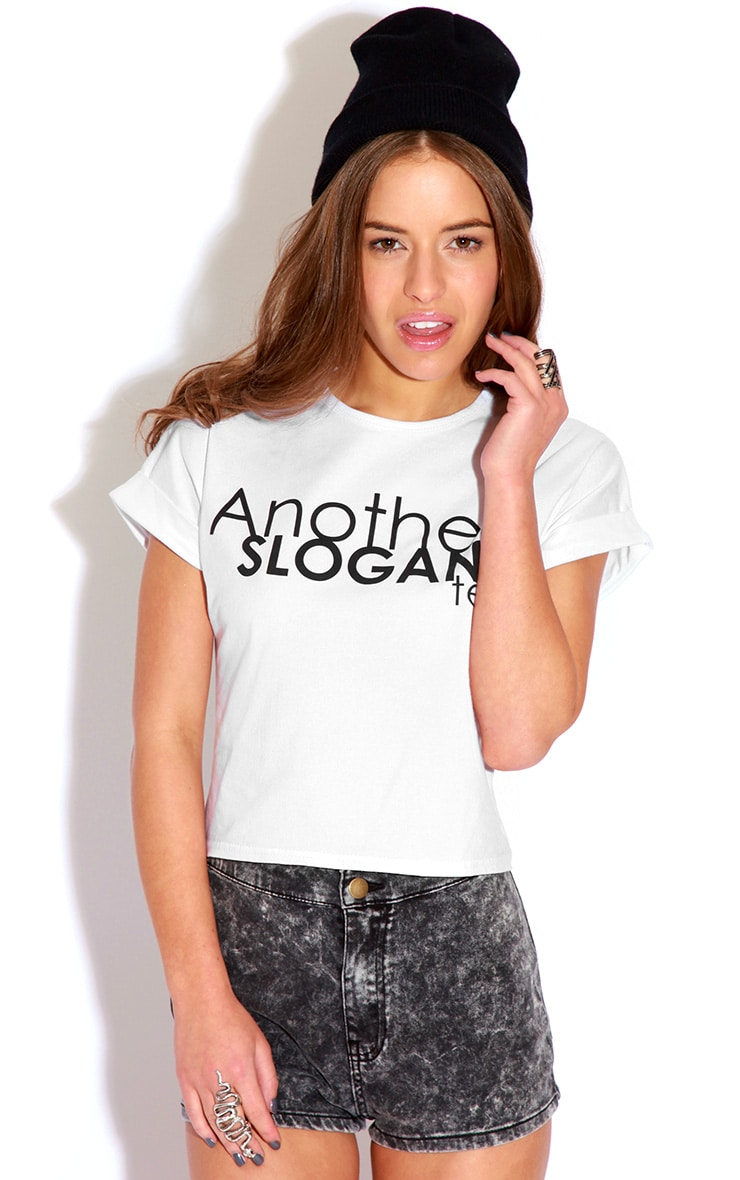 Cara White 'Another Slogan' T-Shirt 1