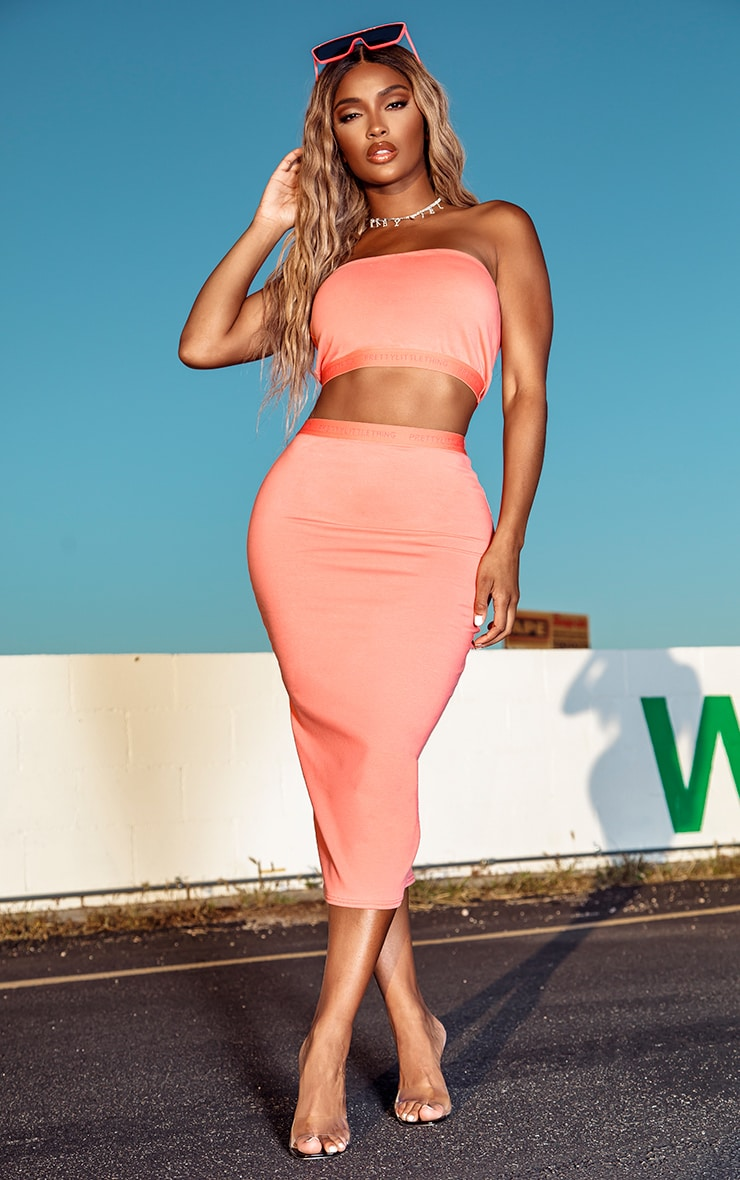 PRETTYLITTLETHING Shape Coral Bodycon Midi Skirt