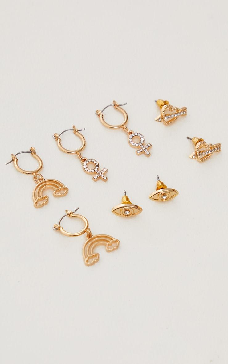 Gold Diamante Motif Stud and Hoop Multi Pack 1