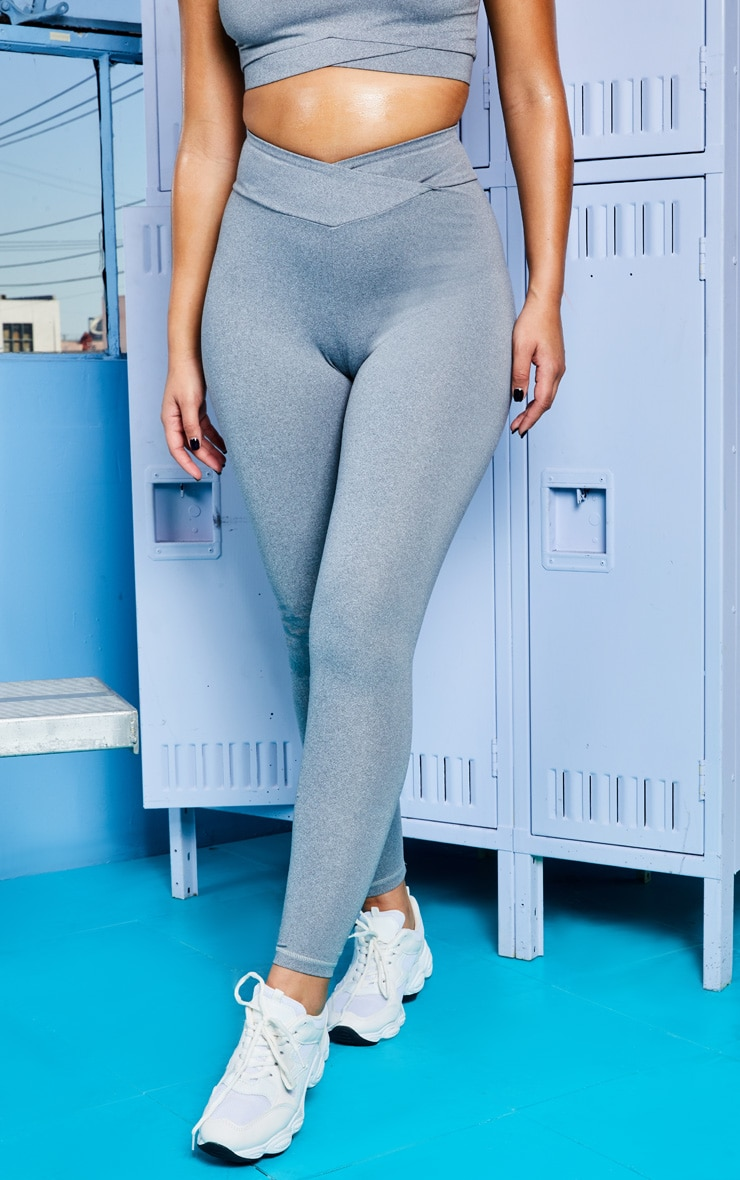 Grey Marl Mid Rise Gym Legging 2