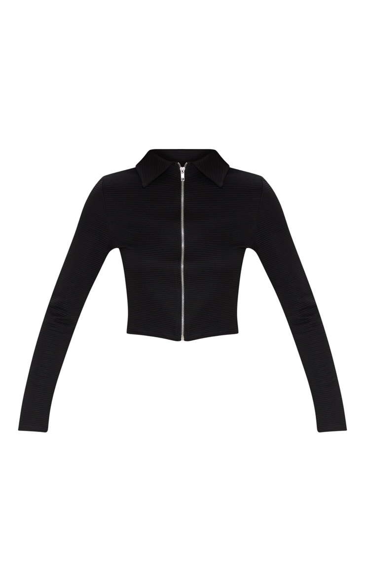 Black Rib Zip Up Top 3