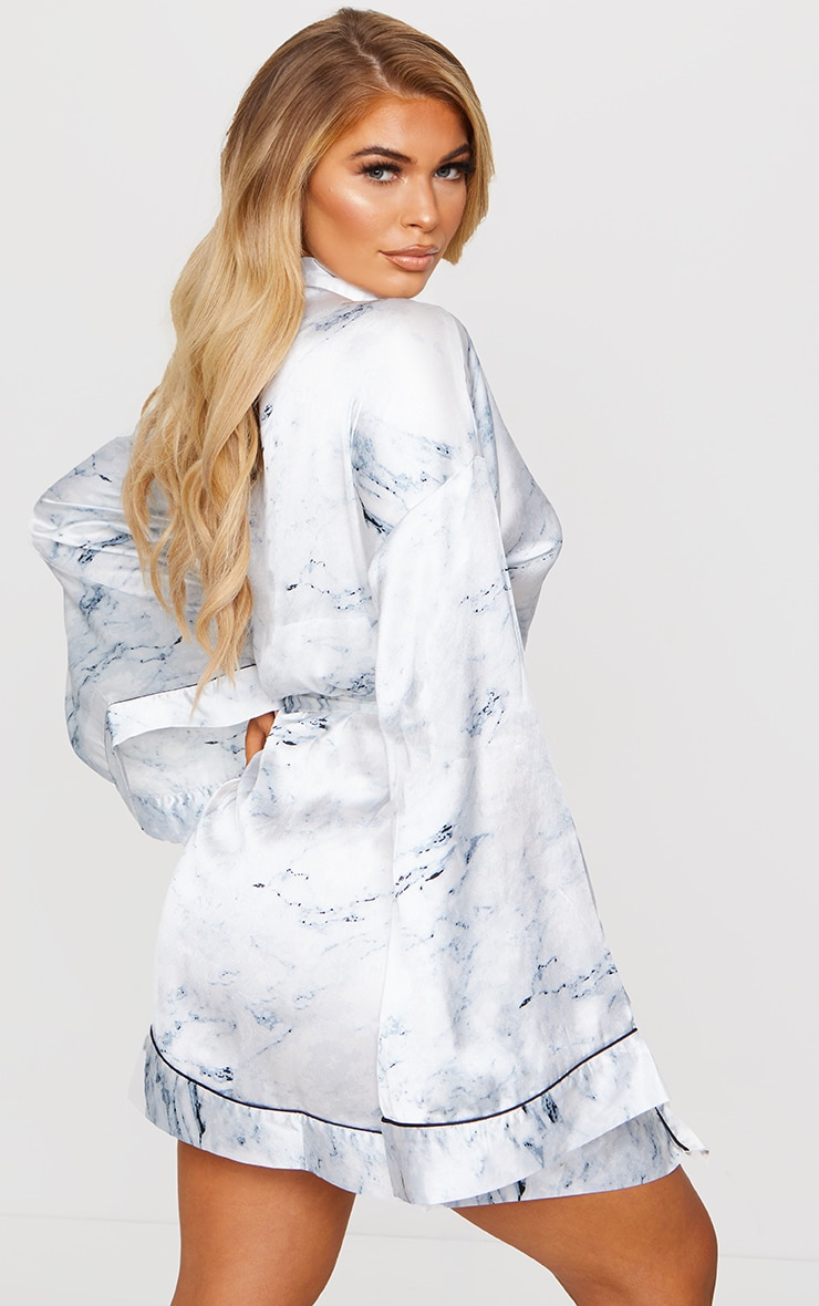 White Marble Print Satin Robe 2