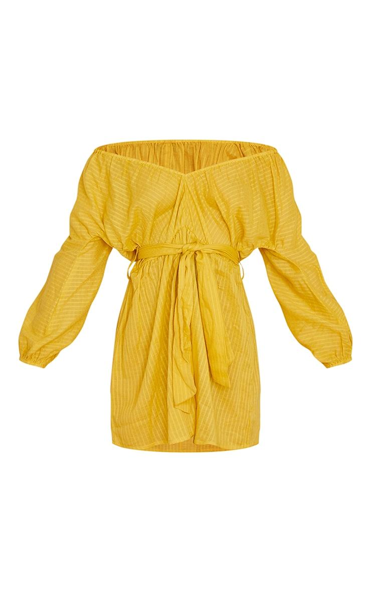 Yellow Woven Off The Shoulder Tie Waist Shift Dress 5
