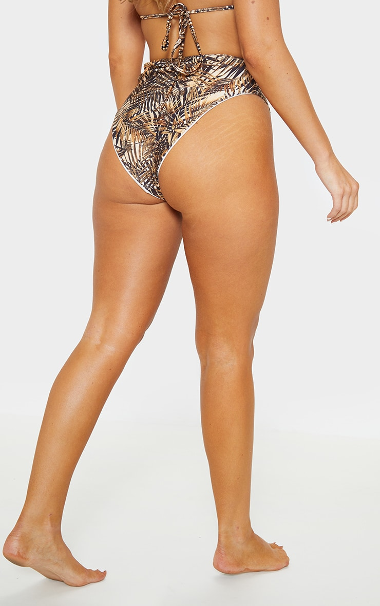 Brown Leaf High Waist High Leg Bikini Bottom 4