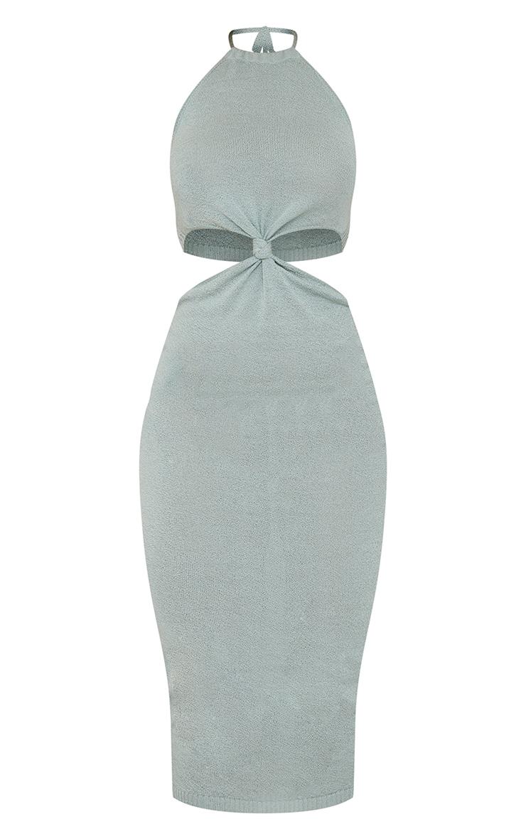 Sage Green Sheer Knit Twist Cut Out Midi Dress 5
