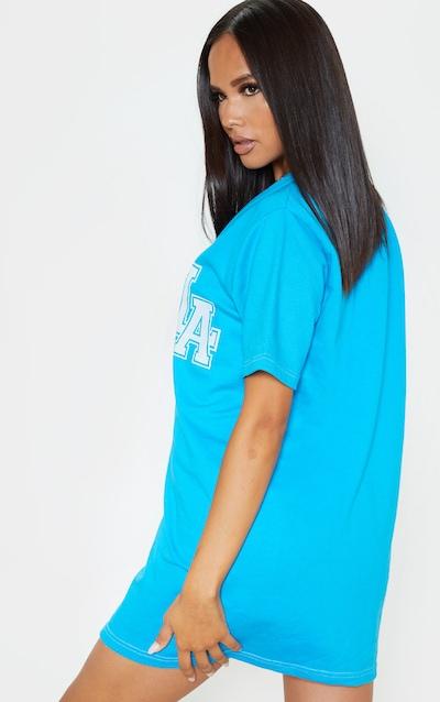 Bright Blue LA Slogan Contrast Oversized Sweat Baseball T Shirt Dress