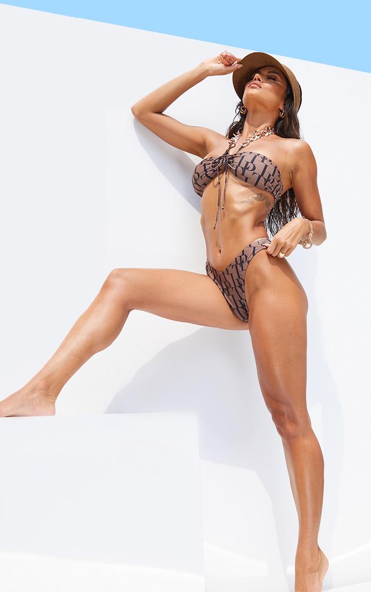 PRETTYLITTLETHING Brown High Rised Bikini Bottoms 3