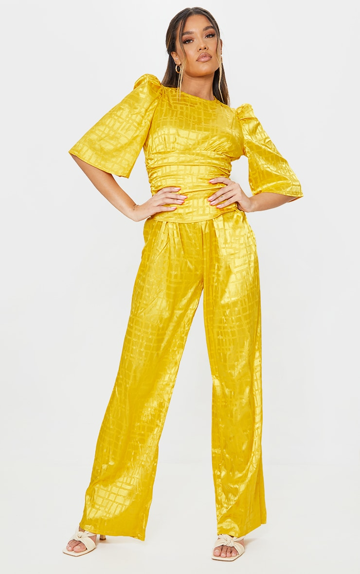 Chartreuse Satin Jacquard Short Sleeve Ruched Jumpsuit 1