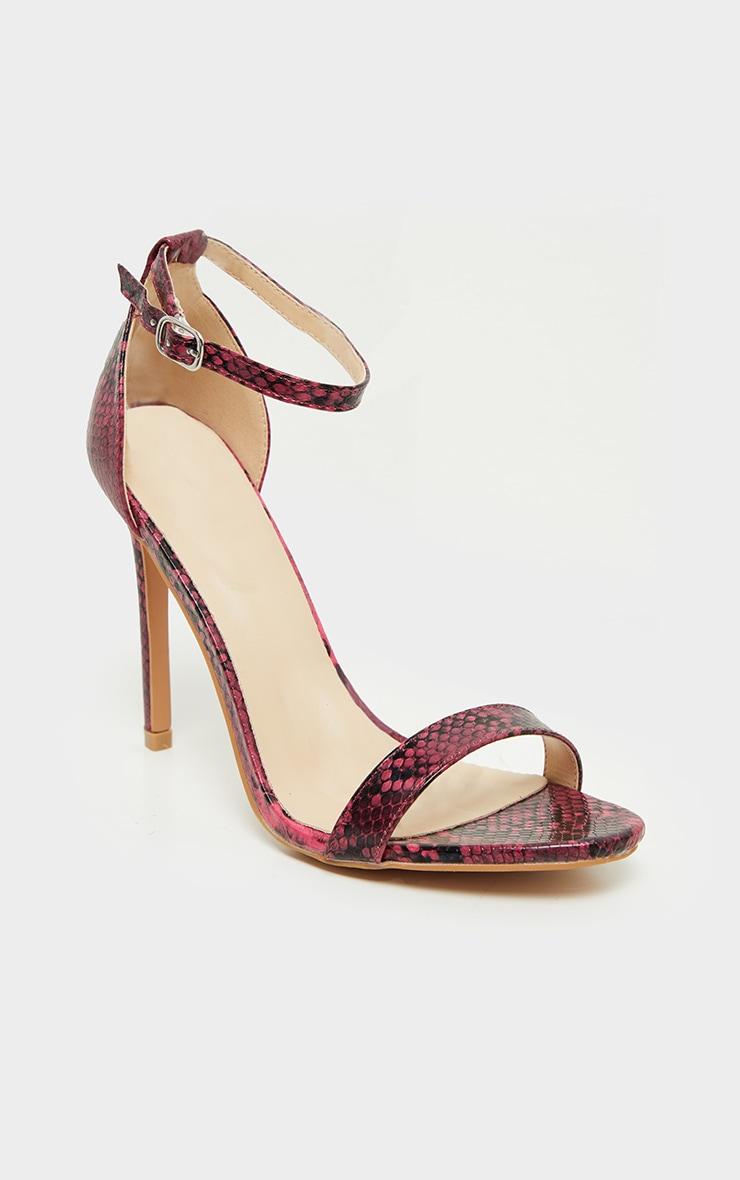 Clover Pink Snake Strap Heeled Sandals 3