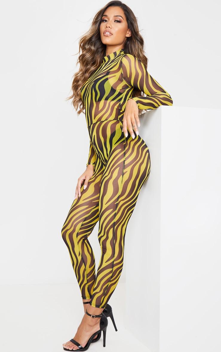 Yellow Zebra Print Mesh Unitard 4