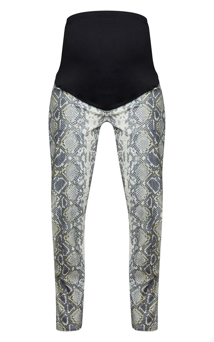 Maternity Grey Split Hem Snake Print Flared Pants 5