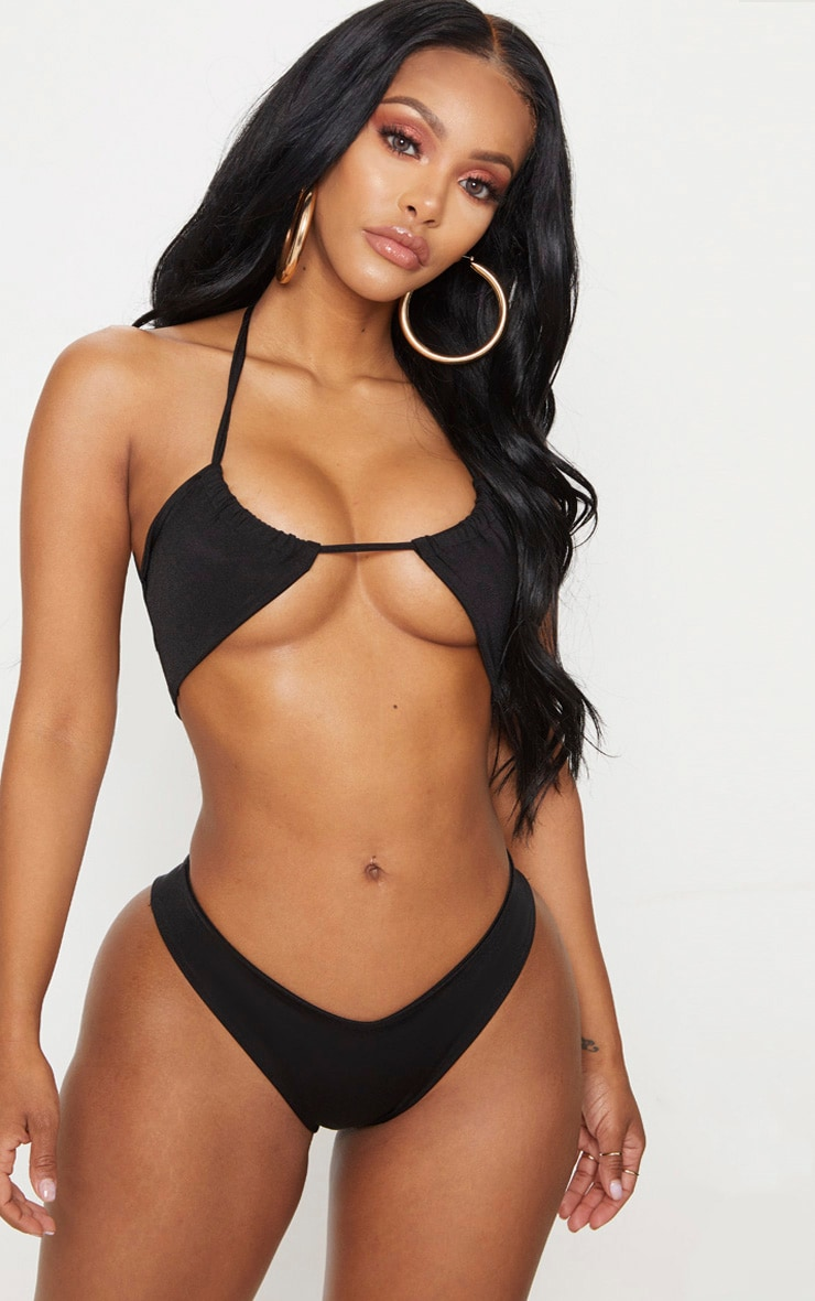 Shape Black Cut Out Tie Front Bikini Top 1