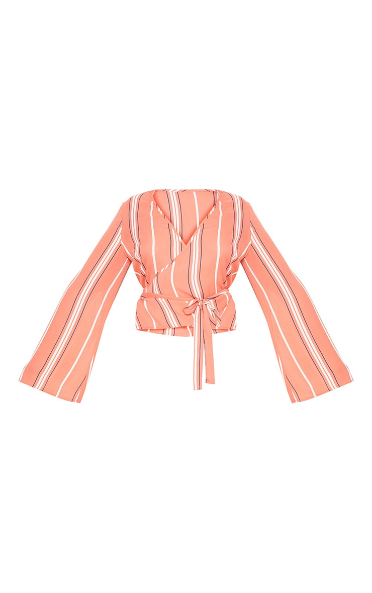 Plus Coral Stripe Wrap Chiffon Top 3