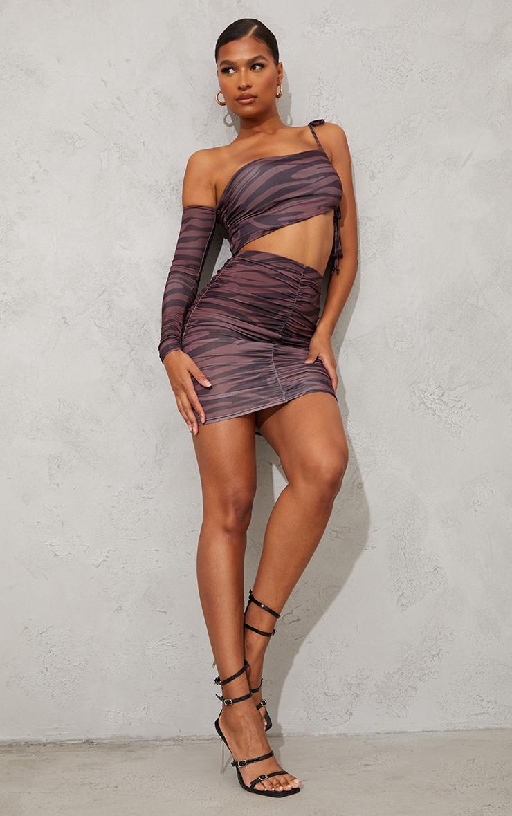 Brown Zebra Print Slinky Ruched Side Mini Skirt 1