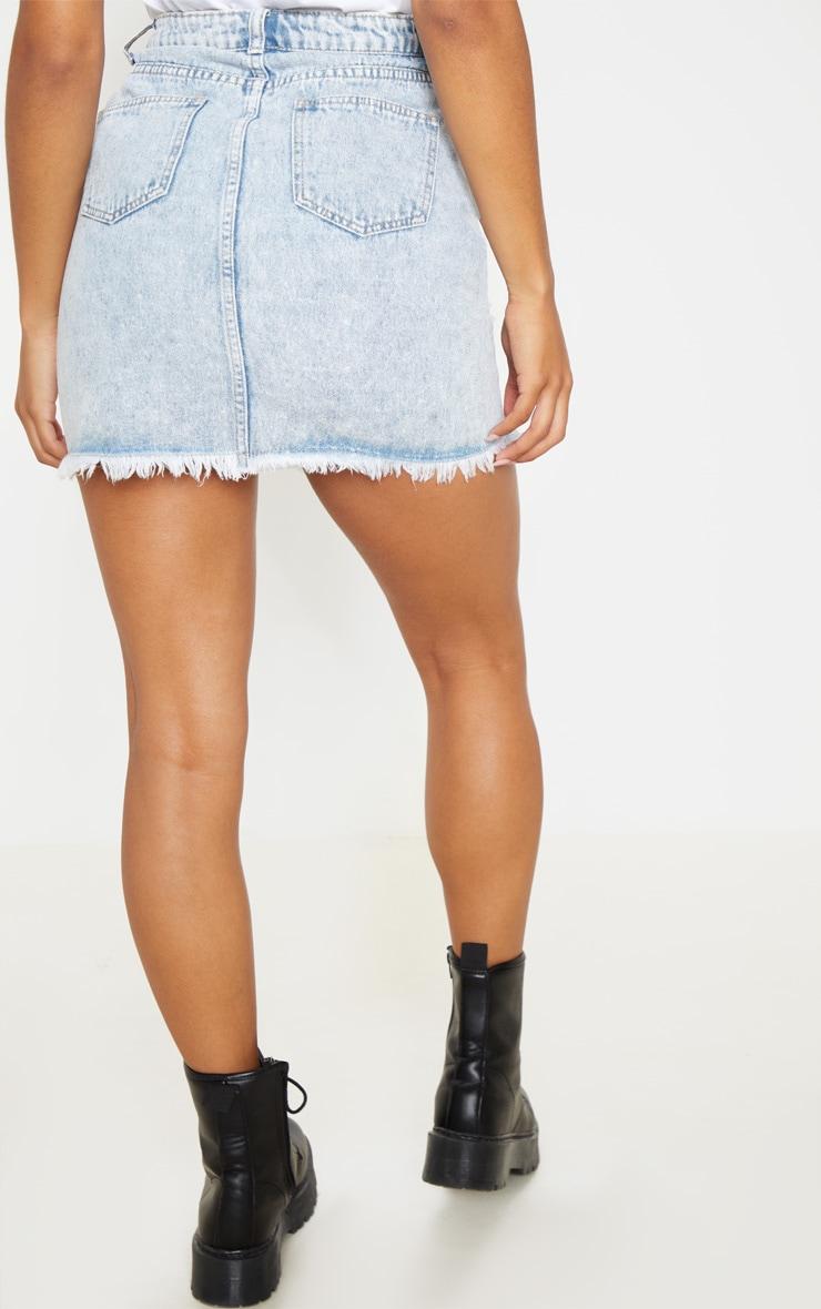 Bleach Wash Denim Mini Skirt 4