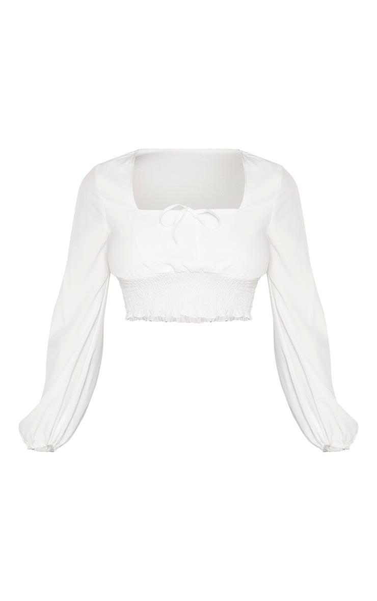 Tall - Blouse blanche à col coeur et liens 3