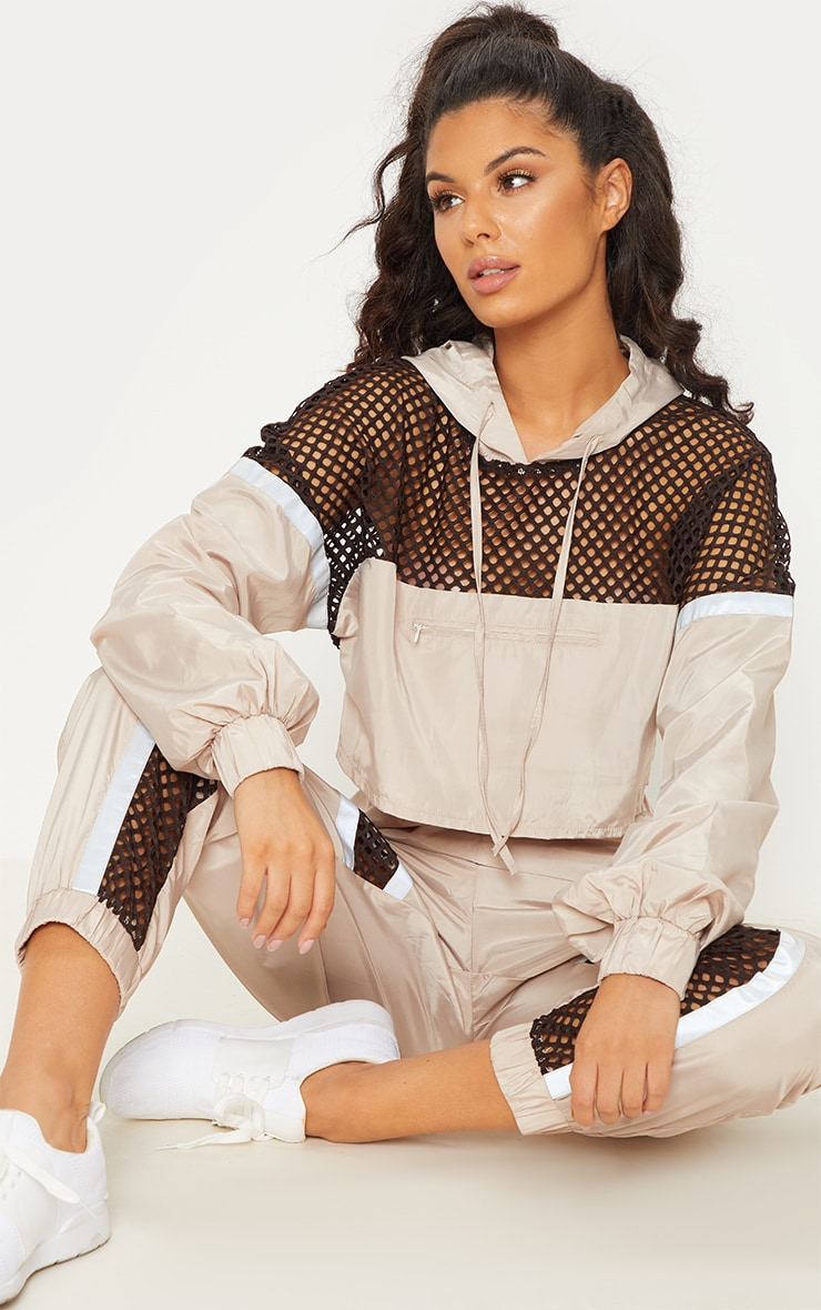 Stone Shell Fishnet Panel Jacket
