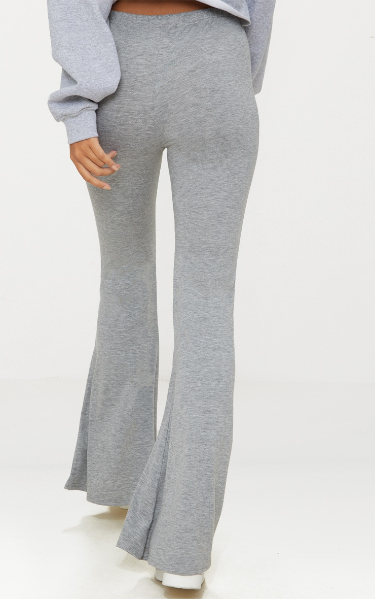 Grey Basic Jersey Flared Trouser 3