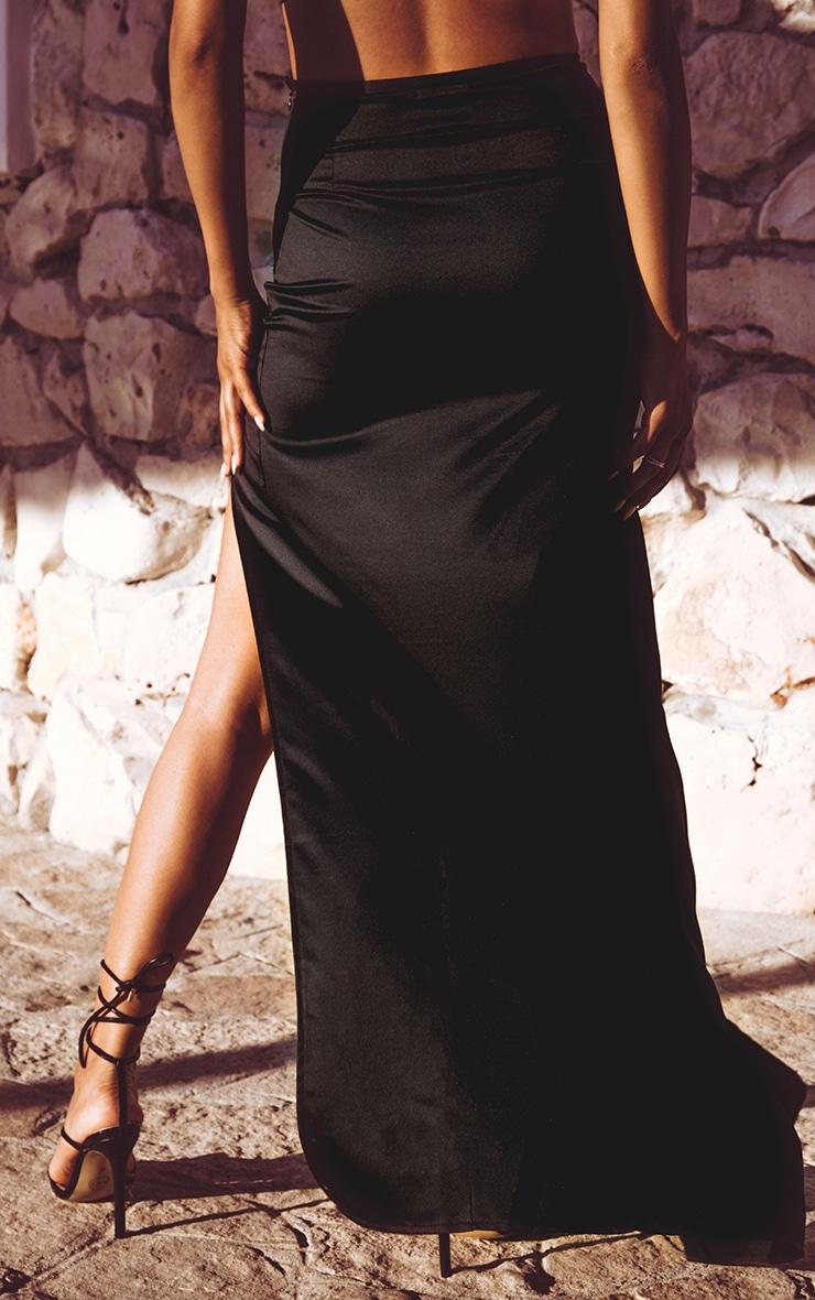 Black Satin Maxi Skirt  4
