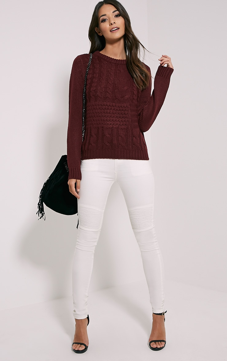 Jaslene Burgundy Cable Knit Jumper 3