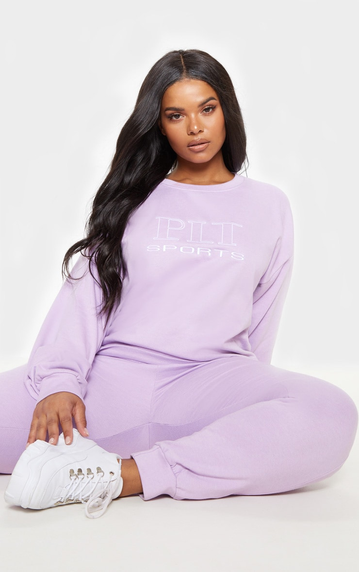 PRETTYLITTLETHING Plus Lilac Embroidered Oversized Sweatshirt 1