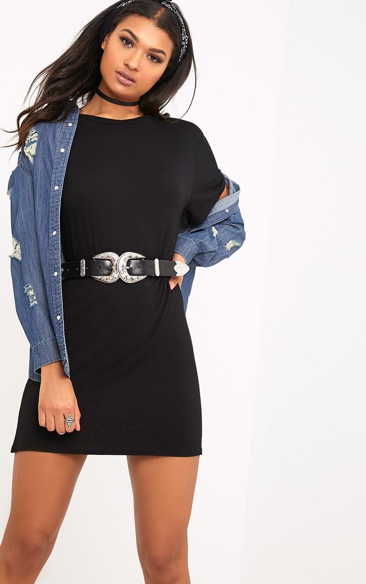 Basic Black Short Sleeve T Shirt Dress 1