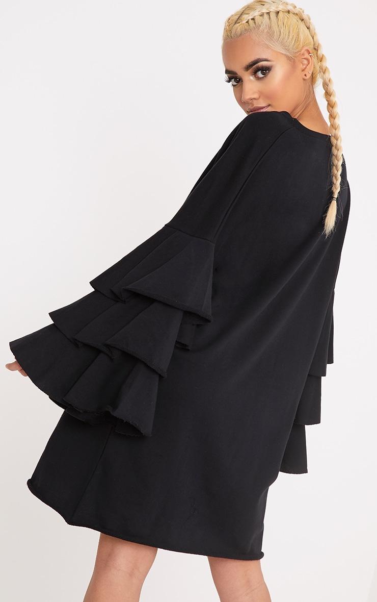 Daizy Black Frill Sleeve Sweater Dress 2