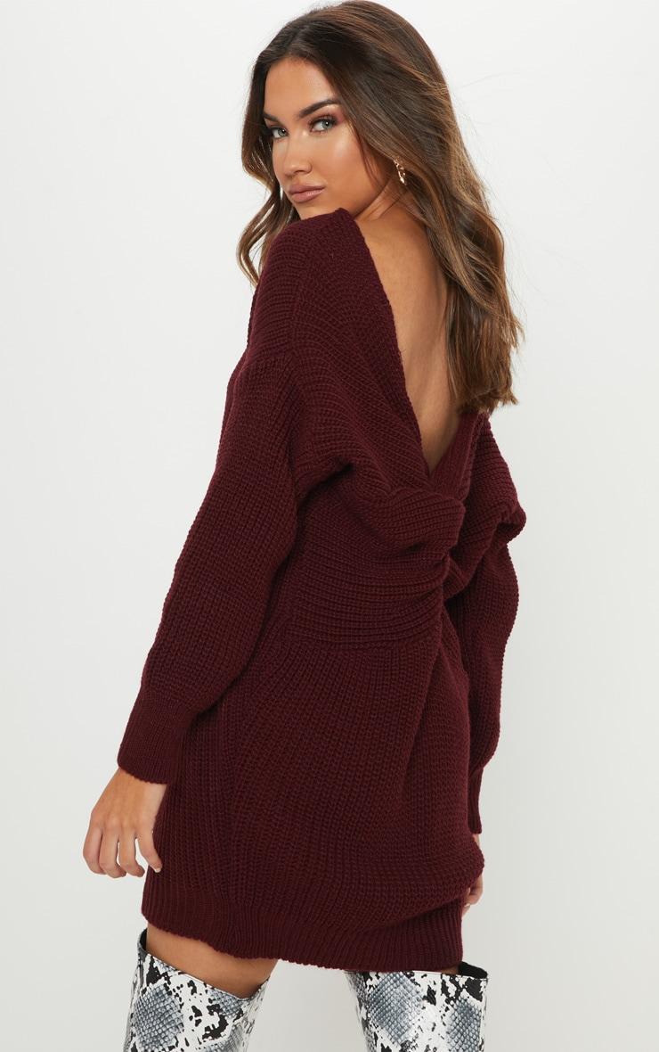 Burgundy Knitted V Neck Twist Detail Sweater Dress 1