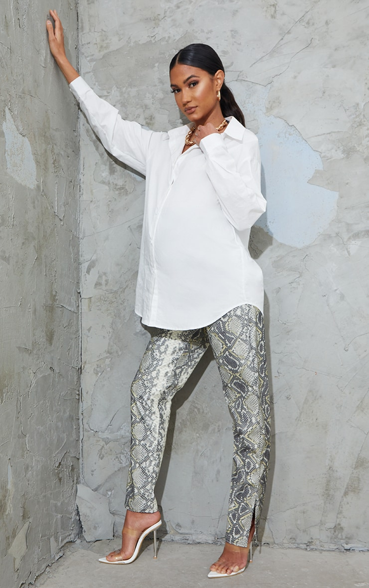 Maternity Grey Split Hem Snake Print Flared Pants 1