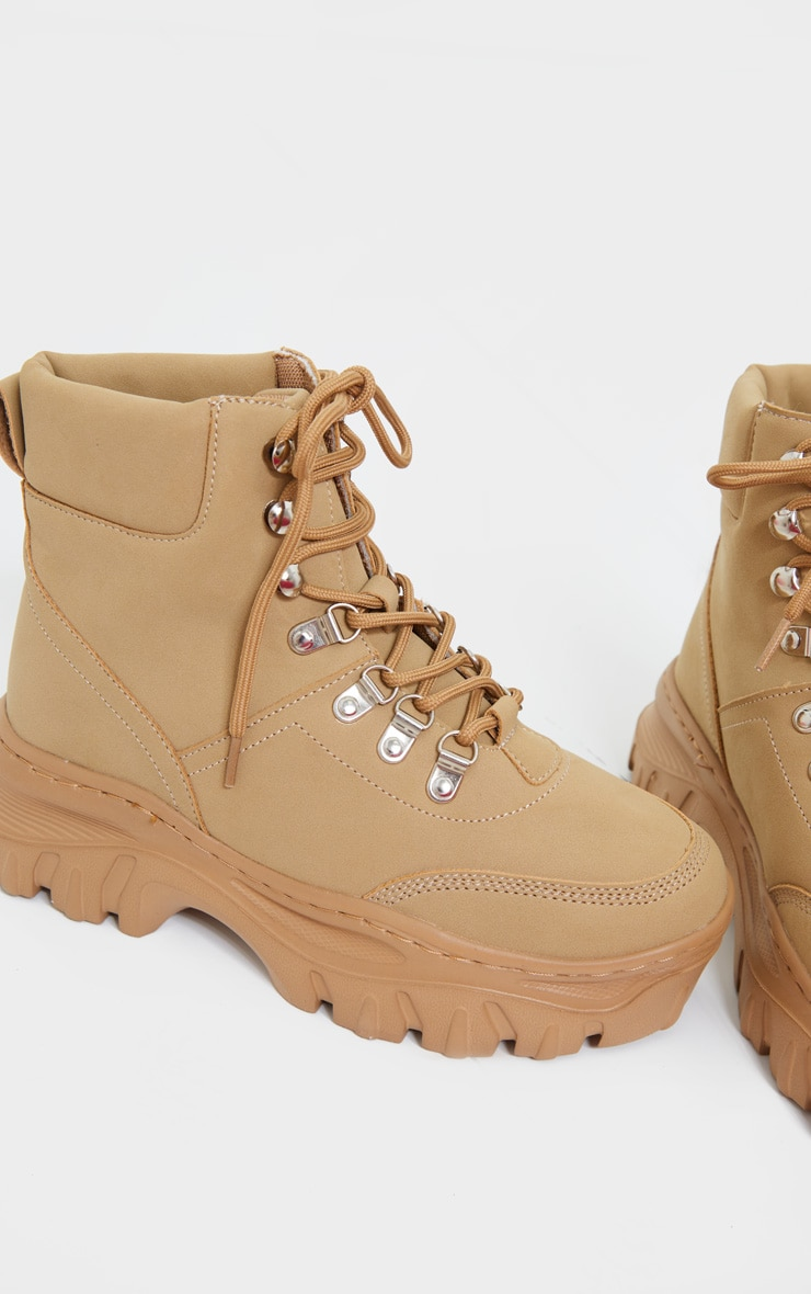 Sand Wide Fit Flatform Chunky Hiker Boots 3