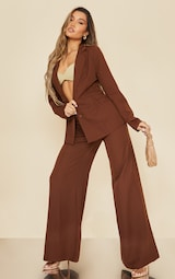 Chocolate Fitted Side Tie Up Corset Detail Blazer 3
