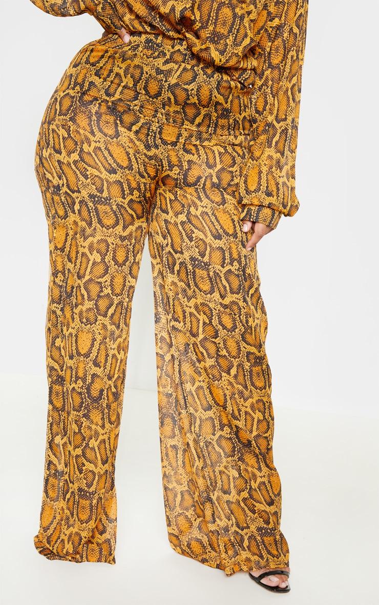 Plus Orange Sheer Snake Print High Waisted Wide Leg Trouser  2