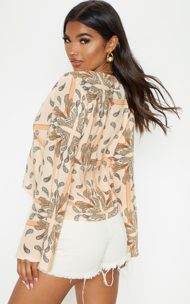 Beige Paisley Printed Chiffon Plunge Tie Front Blouse 2
