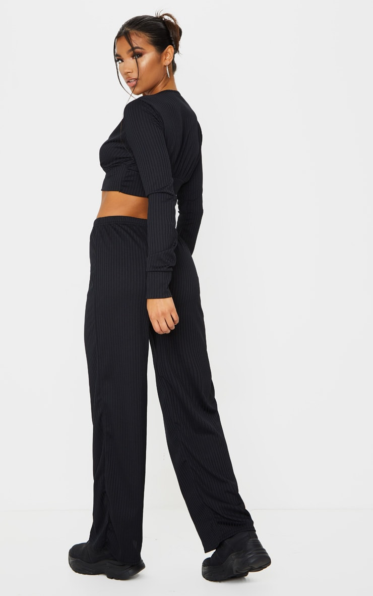Black Ribbed Lounge Long Sleeve Crop And Wide Leg Trouser Set 2