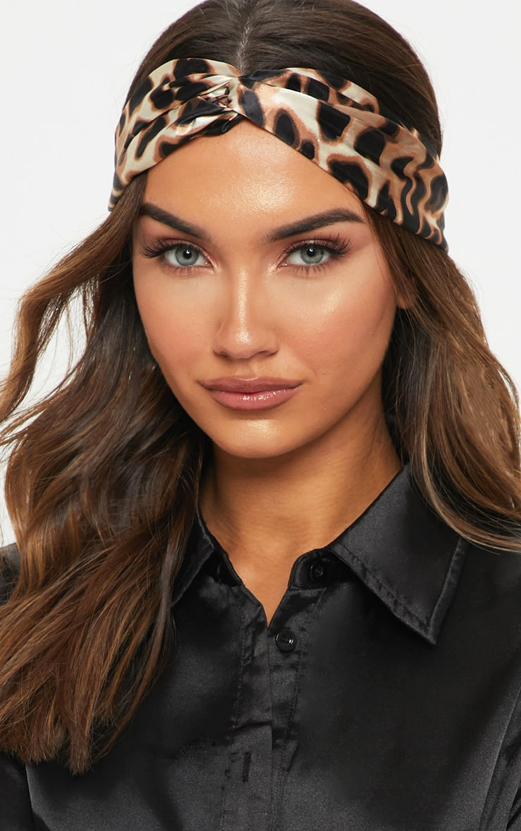Leopard Satin Twisted Head Band 1