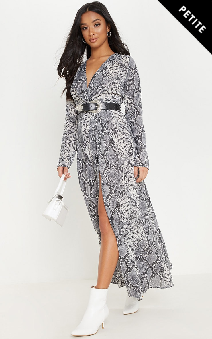 Petite Grey Snake Print Twist Front Maxi Dress