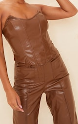 Chocolate Brown Faux Leather Pointed Cup Corset Top 4
