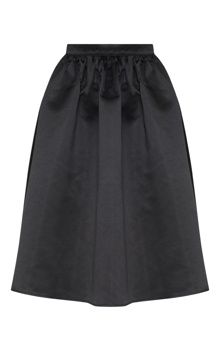 Black Satin Full Midi Skirt  5