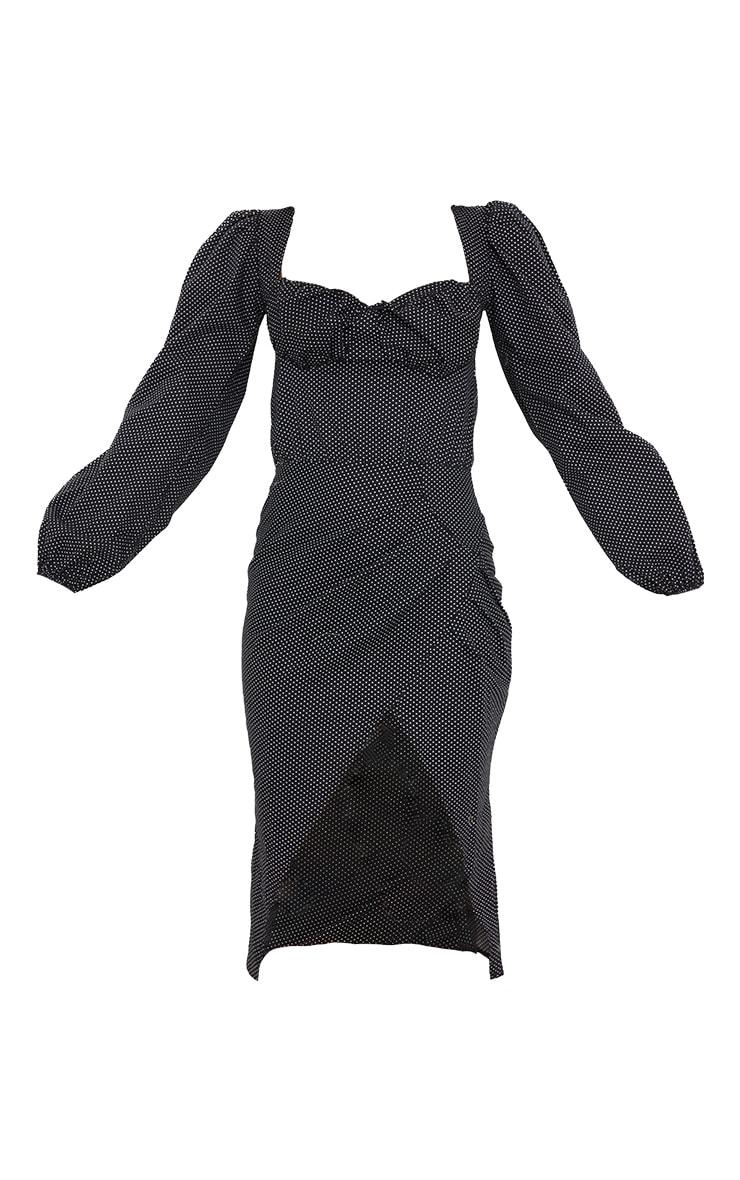 Black Polka Dot Ruched Bust Long Sleeve Midi Dress 5
