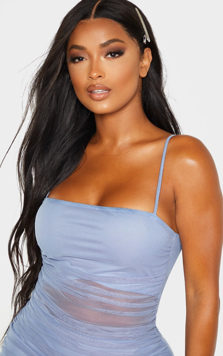 Shape Dusty Blue Strappy Ruched Mesh Cut Out Dress 5