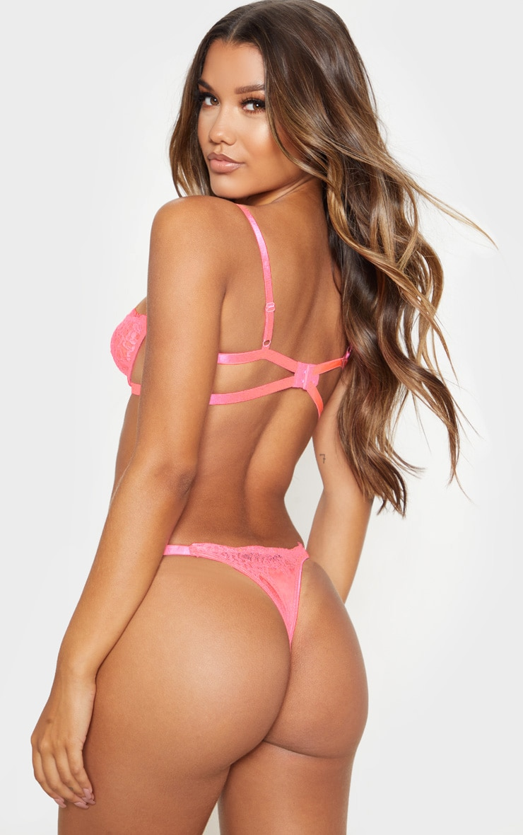 Neon Pink Ring Detail Underwired Lingerie Set 2