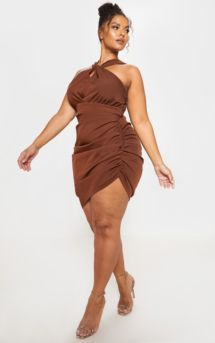 Chocolate Brown Ruched Side High Neck Midi Dress 5