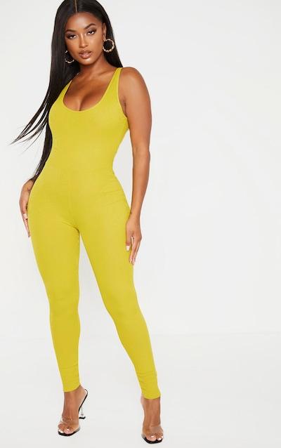 Shape Dark Lime Ribbed Scoop Neck Jumpsuit