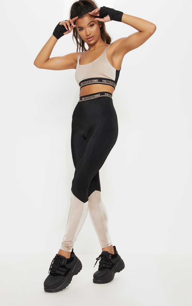 PRETTYLITTLETHING Stone Two Tone Cropped Gym Top 4