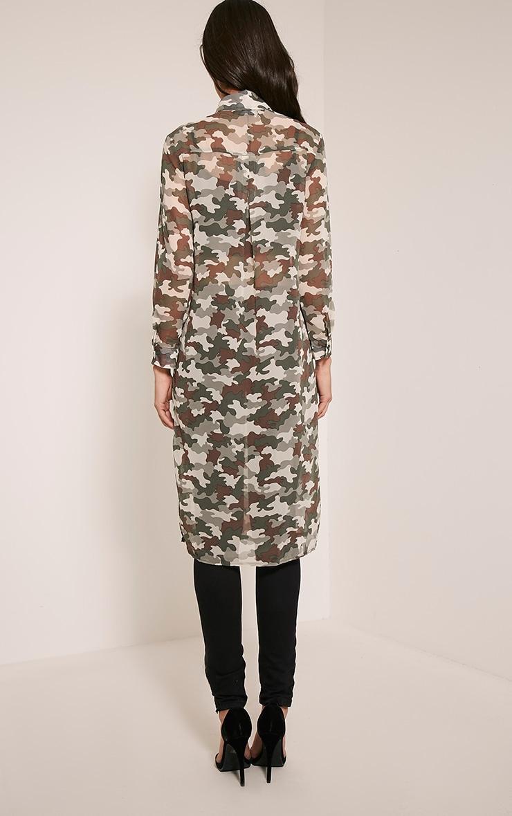 Tabia Khaki Camouflage Print Chiffon Longline Shirt 2