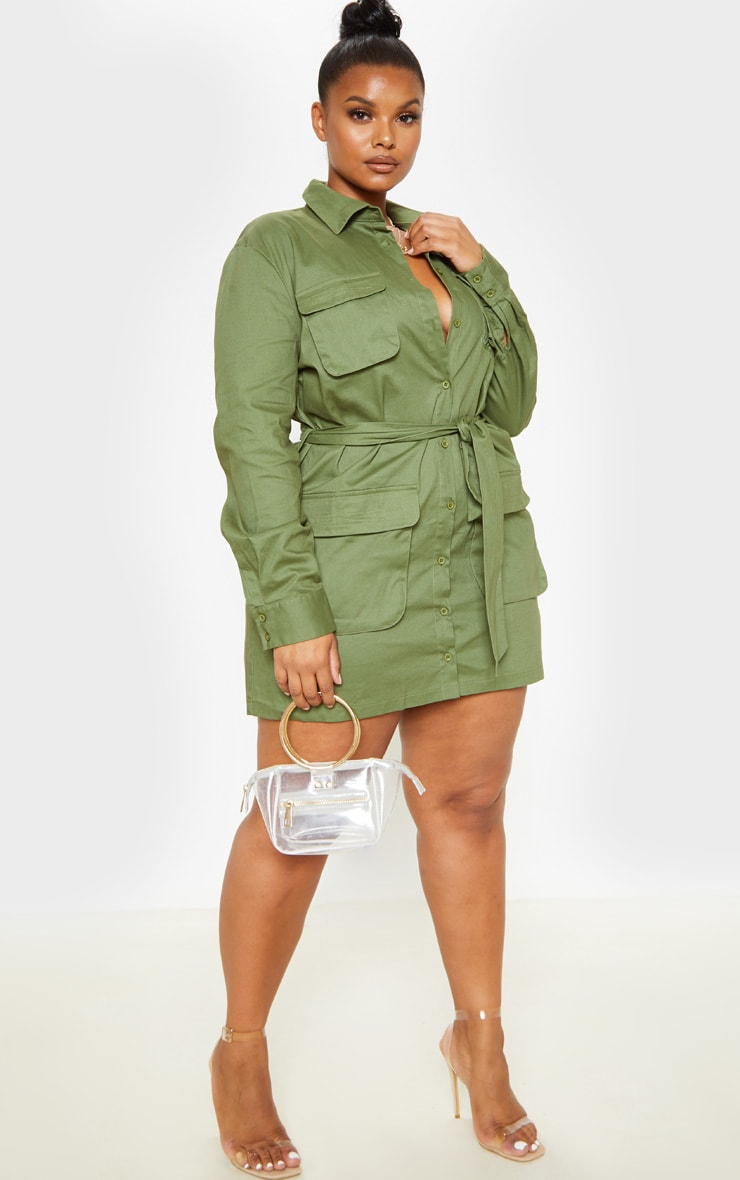 Plus Khaki Utility Tie Waist Shift Dress 4