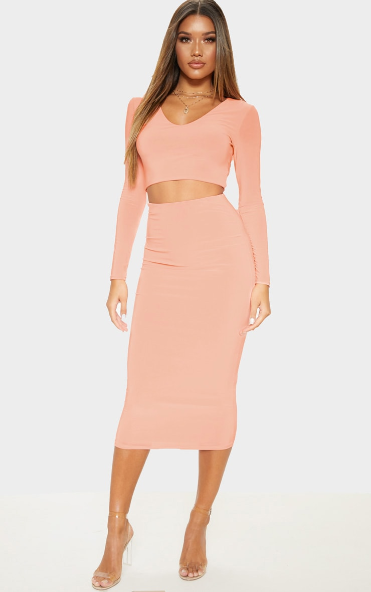Peach Second Skin Long Sleeve V Neck Crop Top 4